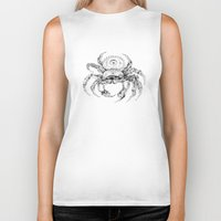 clockwork Biker Tanks featuring clockwork crab by vasodelirium
