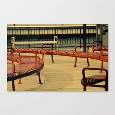 Red Benches Canvas Print