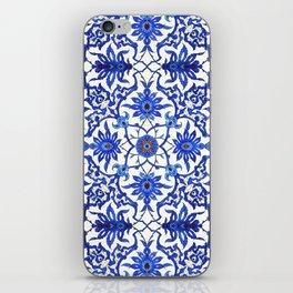 Art Nouveau Chinese Tile, Cobalt Blue & White iPhone Skin
