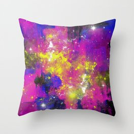 Journey Through Space - Abstract purple and blue, space themed artwork Throw Pillow