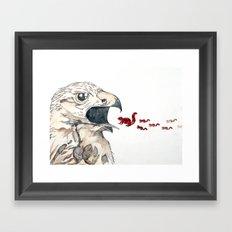 Hawk vs. Squirrel Framed Art Print