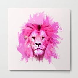 A pink lion looked at me Metal Print