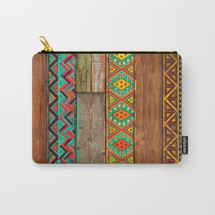 Indian Wood Carry-All Pouch
