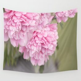 Pink Peonies On A Green And Grey Background #society6 #buyart Wall Tapestry