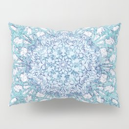 Aqua Lace Mandala Pillow Sham