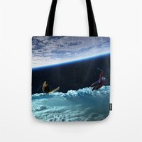 skiing Tote Bags featuring Skiing by Cs025