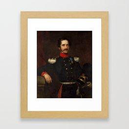 James Butler Brenan , Portrait of a Hanoverian officer, three-quarter length, holding his helmet, 18 Framed Art Print