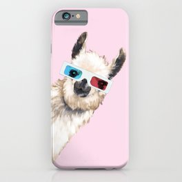 Sneaky Llama with 3D Glasses in Pink iPhone Case