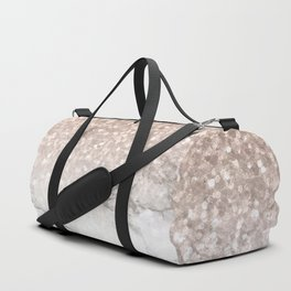 She Sparkles - Rose Gold Glitter Marble Duffle Bag