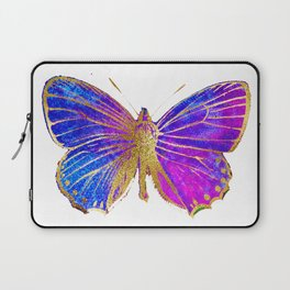 Elegant Gold-Glitter Butterfly in Blue and Purple Laptop Sleeve