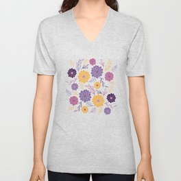 Dahlia Flowers Illustration – Purple Violet and Yellow Unisex V-Neck