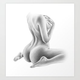 Naked Woman Figure Drawing | Nude Art | Sexy | Sexual Art | Butt and Back View Art Print