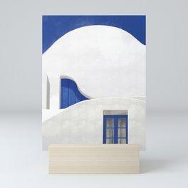 Little Blue Window - Santorini, Greece - Minimalist Travel Print - Romantic Coastal Vibes Mini Art Print
