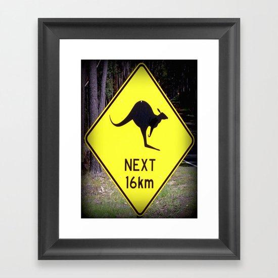 Kangaroo road Sign Framed Art Print