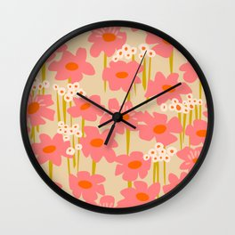 Relax in your summer meadow – floral shapes pattern Wall Clock