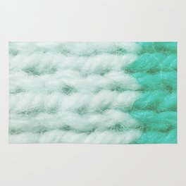 White Turquoise Wool Knitting Texture Rug