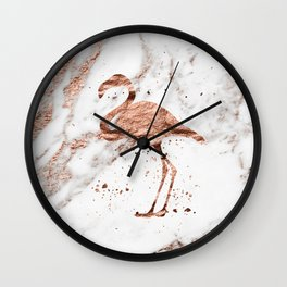 Rose gold marble - flamingo Wall Clock