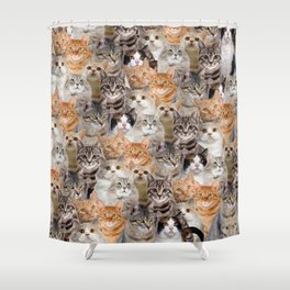cats pattern lot of funny animals cheesy crazy Shower Curtain