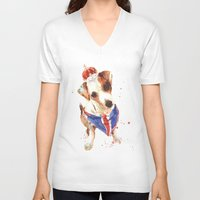 jack russell V-neck T-shirts featuring LONDON - Jack Russell Art - Union Jack by eastwitching