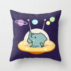 Astronaut elephant: Galaxy mission Throw Pillow