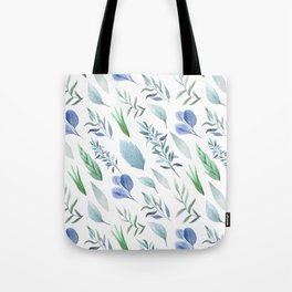 Pastel blue lavender green watercolor hand painted leaves Tote Bag