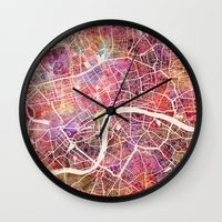 london map Wall Clocks featuring London map by MapMapMaps.Watercolors