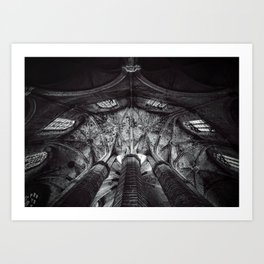 Arches and Stained-glass in the arcade, triforium, and clerestory of gothic European cathedral black and white photograph Art Print