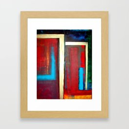 Blue, Red And Gold Modern Abstract Art Painting Framed Art Print