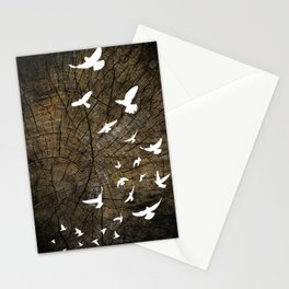 Birds on Wood Stationery Cards