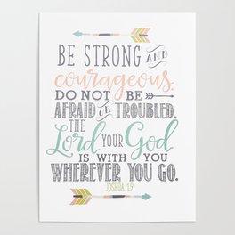 Joshua 1:9 Christian Bible Verse Typography Design Poster