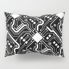 Printed Circuit Board - White on Black Pillow Sham