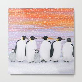 emperor penguins and chicks winter sunset Metal Print