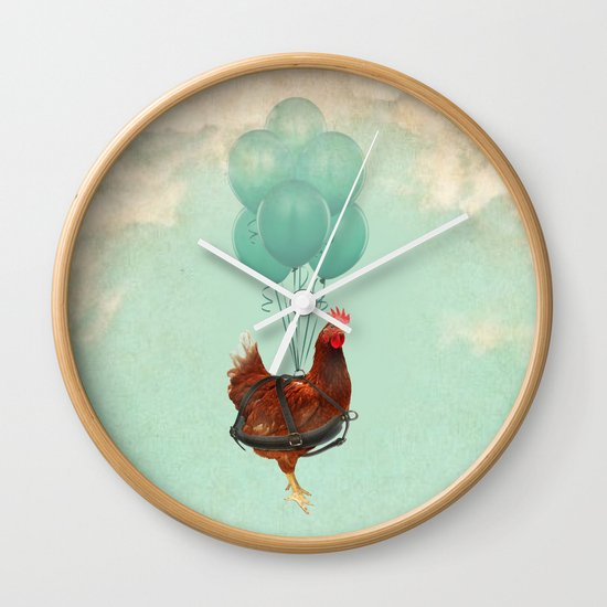 """Chickens can't fly (""""The sky is falling!"""") Wall Clock"""