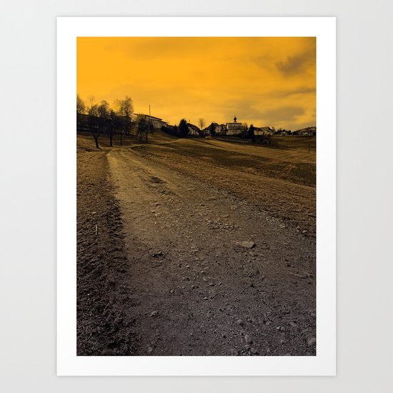 Path up to the village at evening   landscape photography Art Print