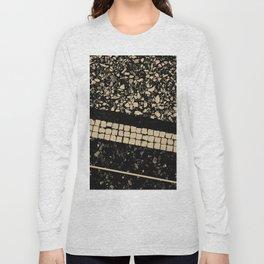 Terrazzo Pattern Black & Gold Sepia #1 #texture #decor #art #society6 Long Sleeve T-shirt