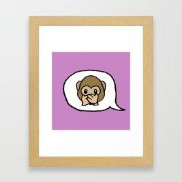 Hand-drawn Emoji - Monkey Say, Speak No Evil Framed Art Print