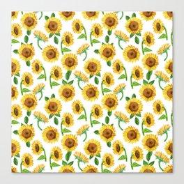 Watercolor Sunflower Pattern - sunflowers, sunflower print, summer floral, beachy floral, boho Canvas Print