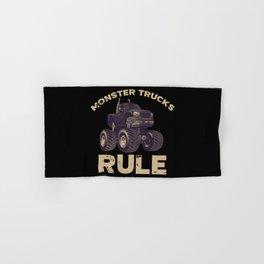 Awesome Monster Trucks Rule Funny Trucks Gift Hand & Bath Towel