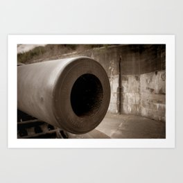 Aged Cannon at Fort DeSoto Sepia Tone Photograph Art Print