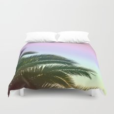 Palm Leaves  - Tropical Sky - Chilling Time Duvet Cover