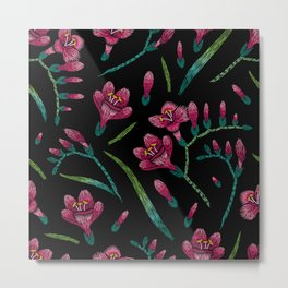 Embroidered Flowers on Black Pattern 07 Metal Print
