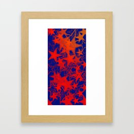 Vector blue background in red stars. For registration of paper or banners. Framed Art Print
