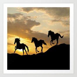 RUNNING HORSES SILHOUETTE Art Print