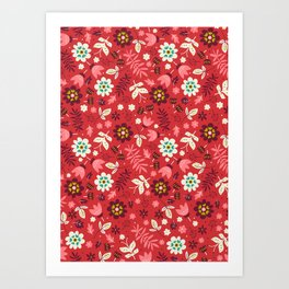 Fresh Blossoms (Reds) Art Print