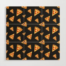 Cool and fun pizza slices pattern Wood Wall Art