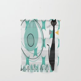 Mid-Century Modern Atomic Art - Teal - Cat Wall Hanging