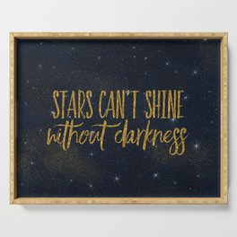 Stars- Darkness - sparkling gold glitter effect night typography Serving Tray