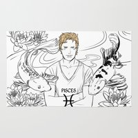 pisces Area & Throw Rugs featuring Pisces by Cassandra Jean