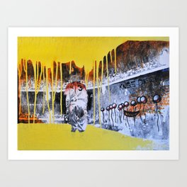 Mixed Media Art Yellow Rain Art Print