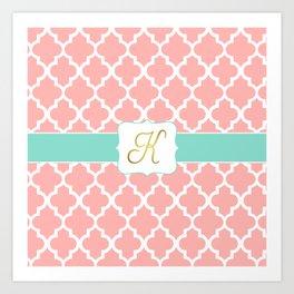 "Pink Quatrefoil with ""K"" Monogram Art Print"